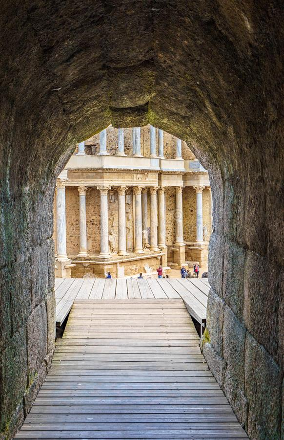 Roman Theatre antico a provincia di Merida, Badajoz in Spagna fotografia stock
