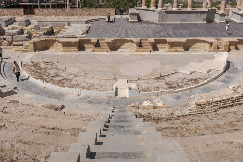 Roman Theatre de Cartagena, Espanha imagem de stock
