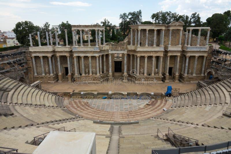 Roman Theatre en la ciudad romana de Emerita Augusta, capital del Lusitania fotografía de archivo