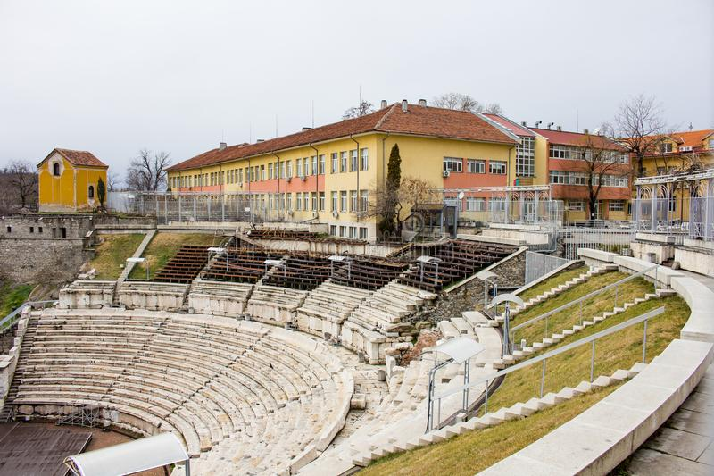 Roman Theatre en Plovdiv, Bulgaria fotos de archivo
