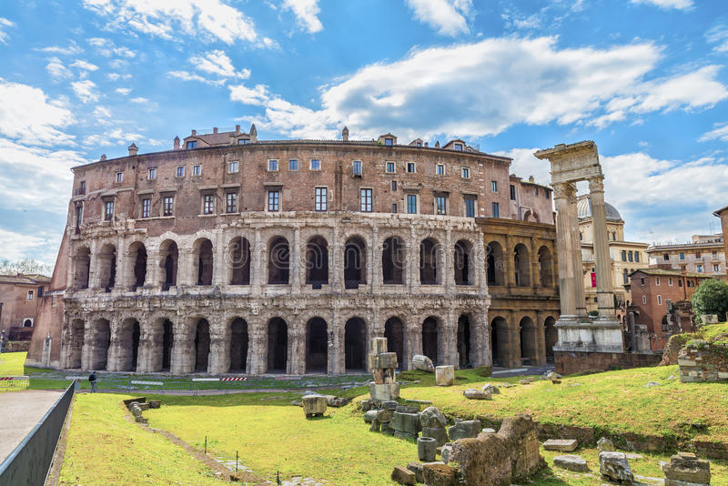 Roman Theatre of Marcellus ( Teatro di Marcello ) stock images
