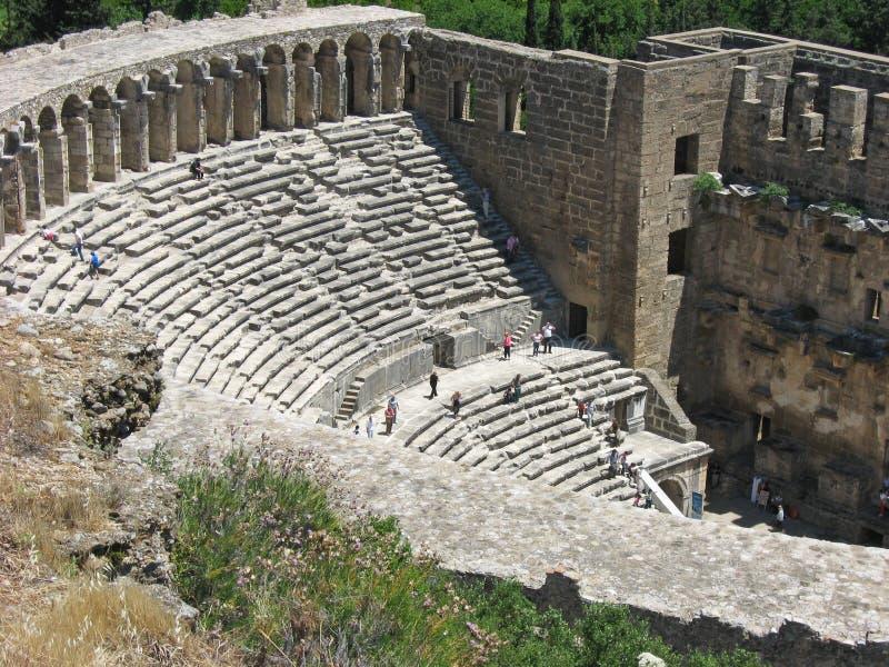 Roman Theatre på Aspendos, Turkiet arkivfoton