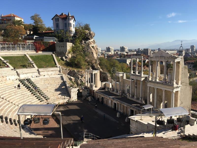 The Roman theatre. Of Plovdiv Bulgaria stock images