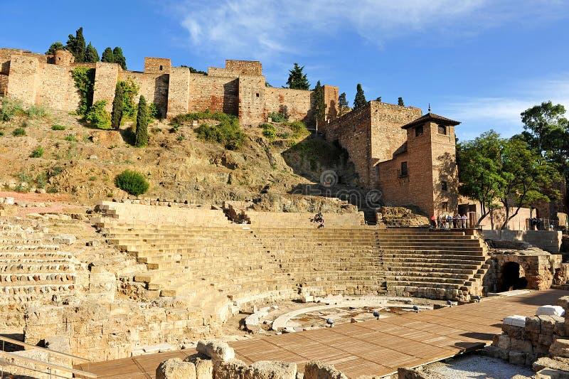 Roman Theatre und Alcazaba, Màlaga, Andalusien, Spanien stockbild