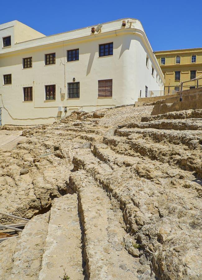 Roman Theatre von Cadiz Andalusien, Spanien lizenzfreie stockfotos