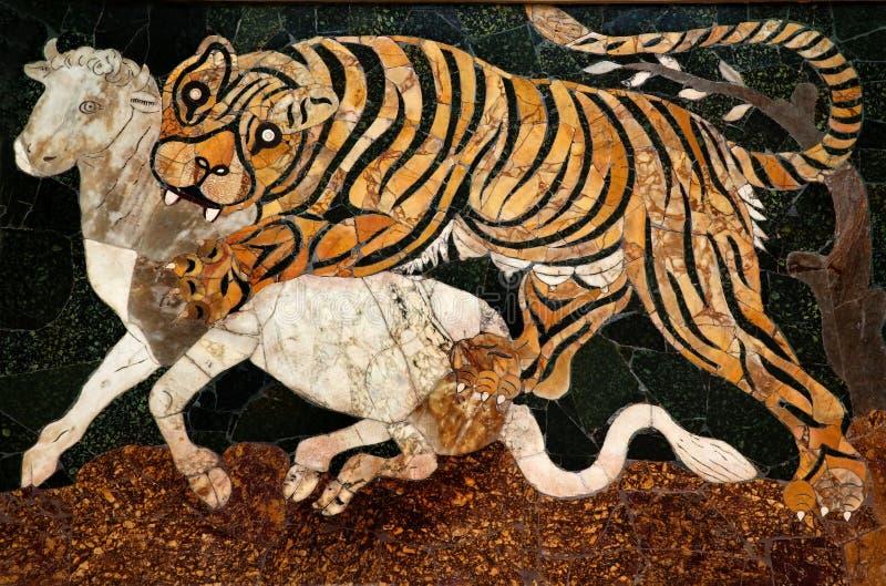 Roman Tijger die van het Mozaïek Capitoline Museum Rome jaagt royalty-vrije stock foto