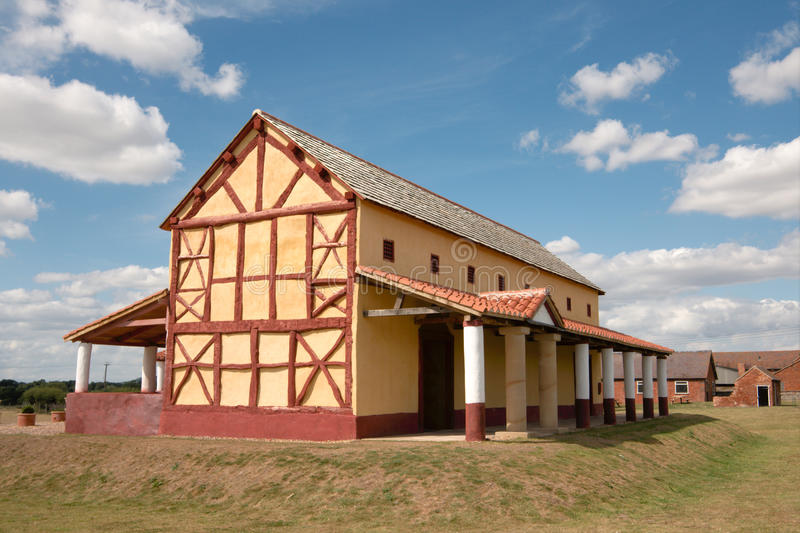 Roman Town House, England. Reconstruction of an ancient Town House at Wroxeter Roman city (Viroconium). Near Shrewsbury, Shropshire, England royalty free stock images