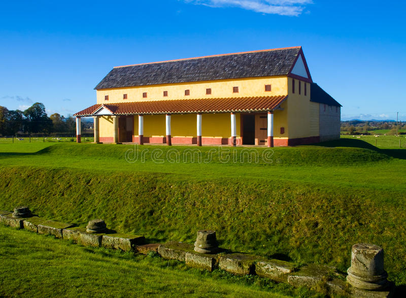 Roman Town House. Looking over towards a replica of a roman town house at Wroxeter royalty free stock image
