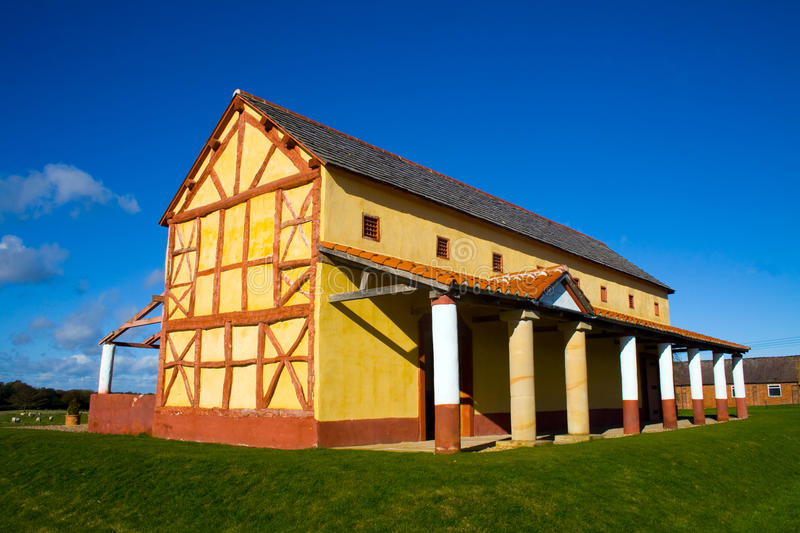 Roman Town House. Looking over towards a replica of a roman town house at Wroxeter royalty free stock photo