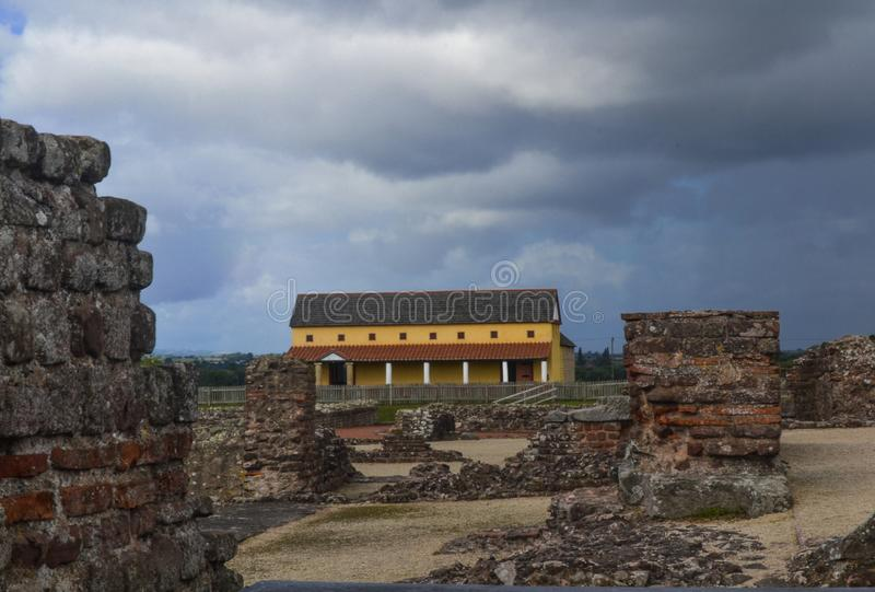 Roman Townhouse em Wroxeter Roman Town em Shropshire imagem de stock