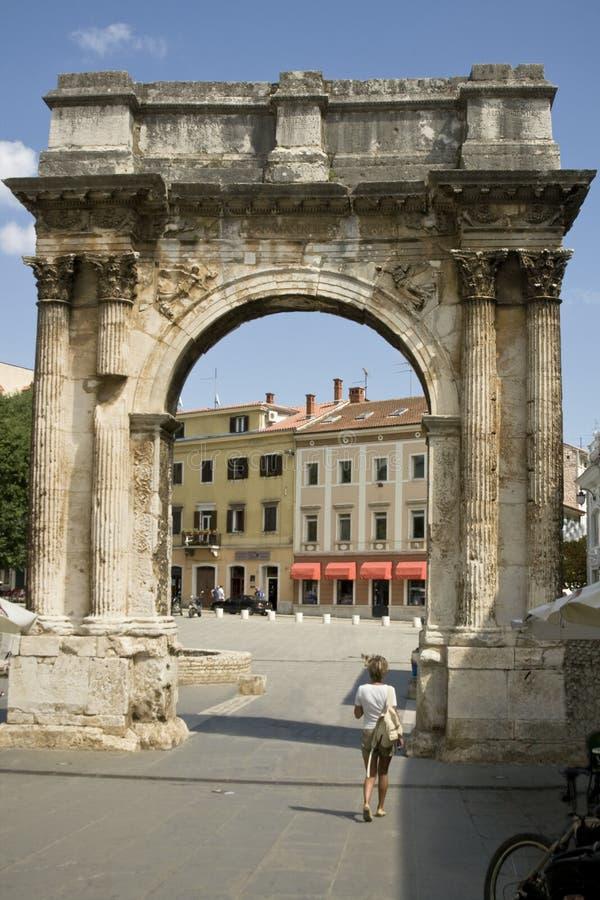 Roman triomfantelijke boog stock afbeelding