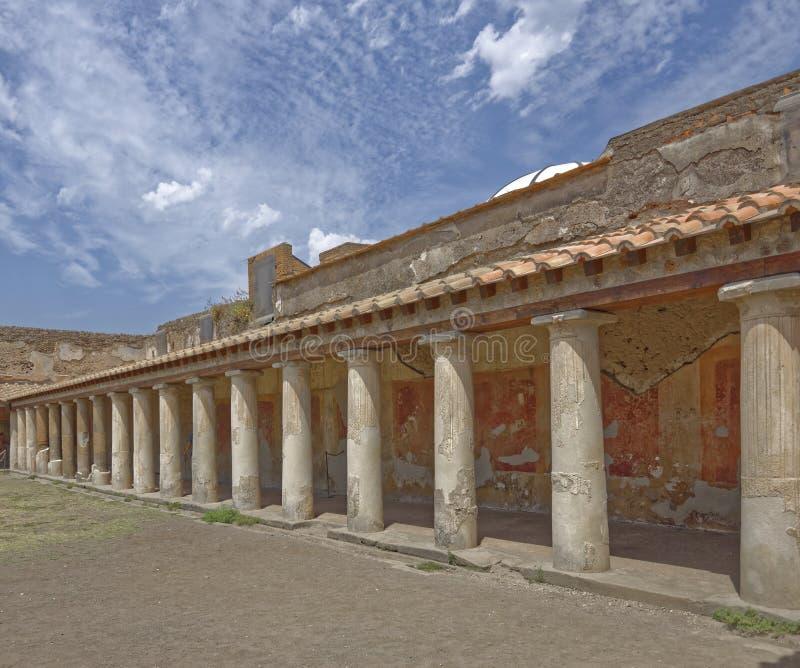 pomey, italy: Roman villa columns royalty free stock photos