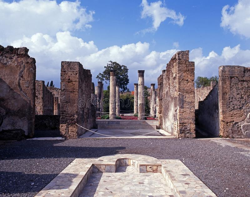 Roman villa and pool, Pompeii, Italy. stock images
