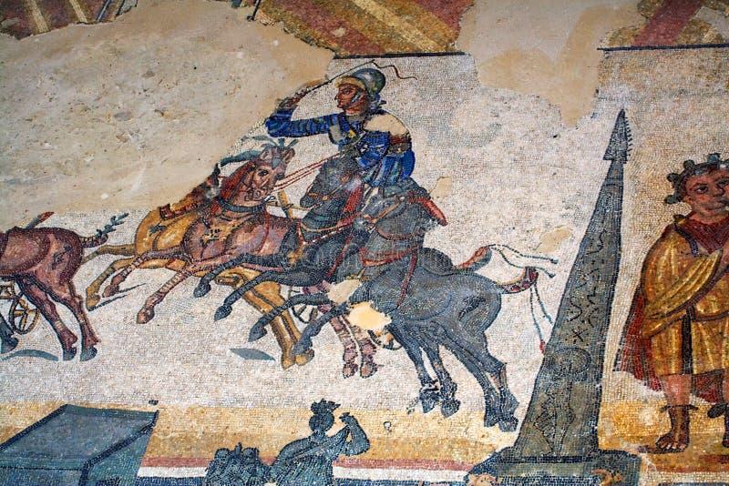 Roman villamozaïek - Sicilië royalty-vrije stock afbeeldingen