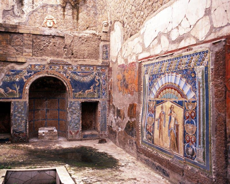 Roman villaruïne, Herculaneum stock foto's