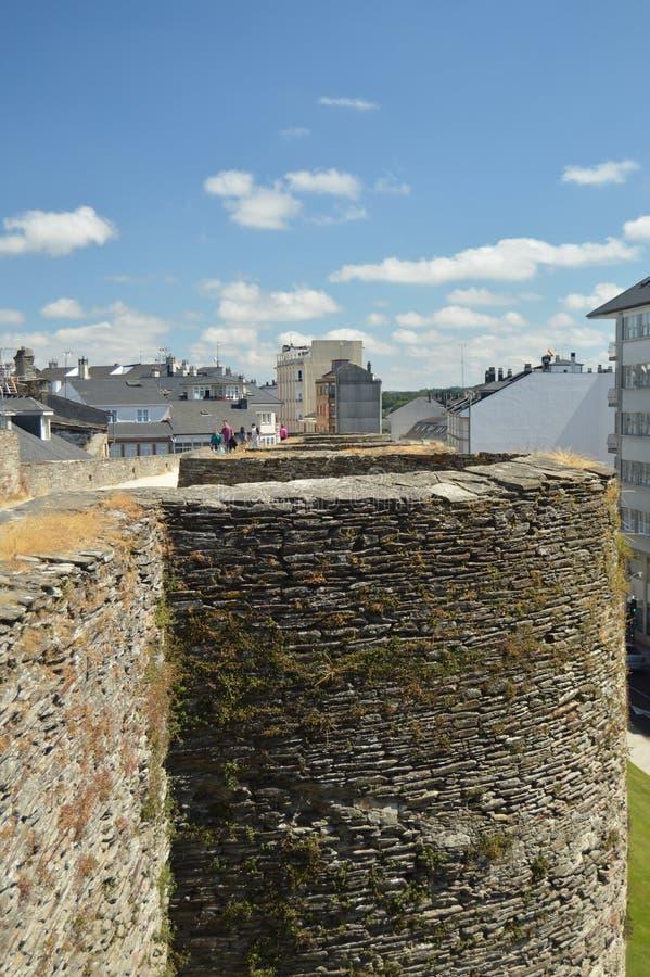Roman Wall Milenaria Perfectly Preserved en zeer Lang in Lugo stock fotografie