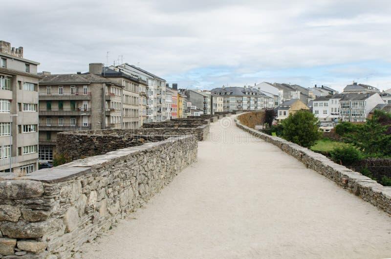 Roman Walls van Lugo in Spanje stock foto's
