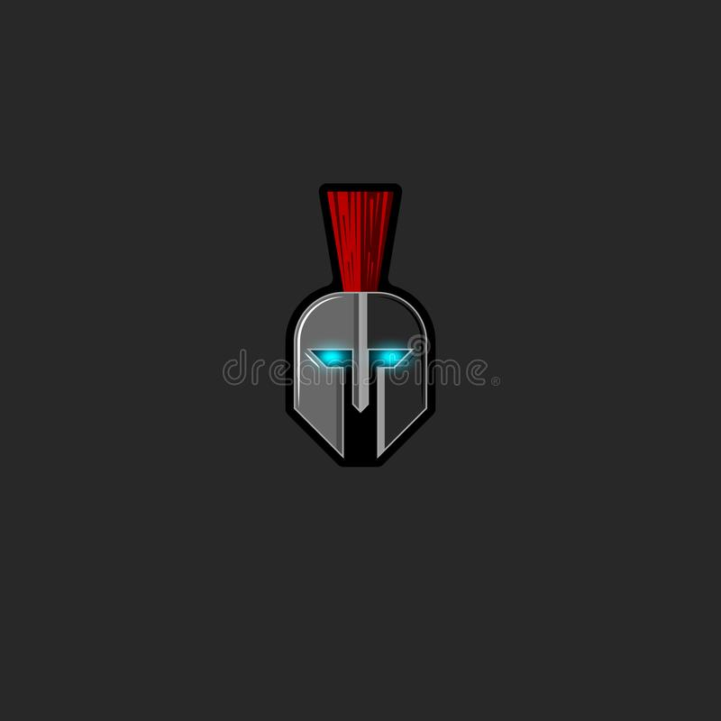 Roman warrior helmet logo ghost ancient fighter with glowing eyes, mockup fight club horror emblem or bodyguard. Roman warrior helmet logo ghost ancient fighter royalty free illustration
