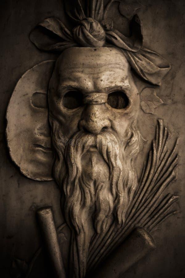 Roman Warrior Sculpture Mask stock photo