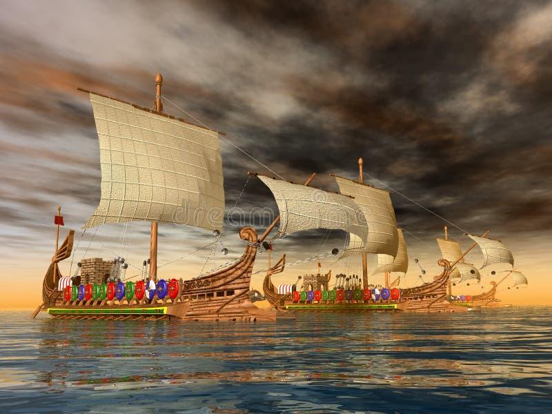 Roman Warships antiguo stock de ilustración
