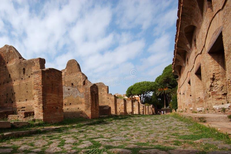 Roman Weg, Ostia Antica, Italië royalty-vrije stock fotografie