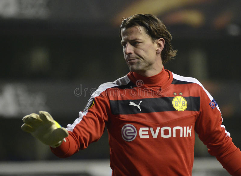 Roman Weidenfeller. Borussia's goalkeeper pictured during UEFA Europa League round of 16 game between Tottenham Hotspur and Borussia Dortmund on March 17, 2016 royalty free stock photo