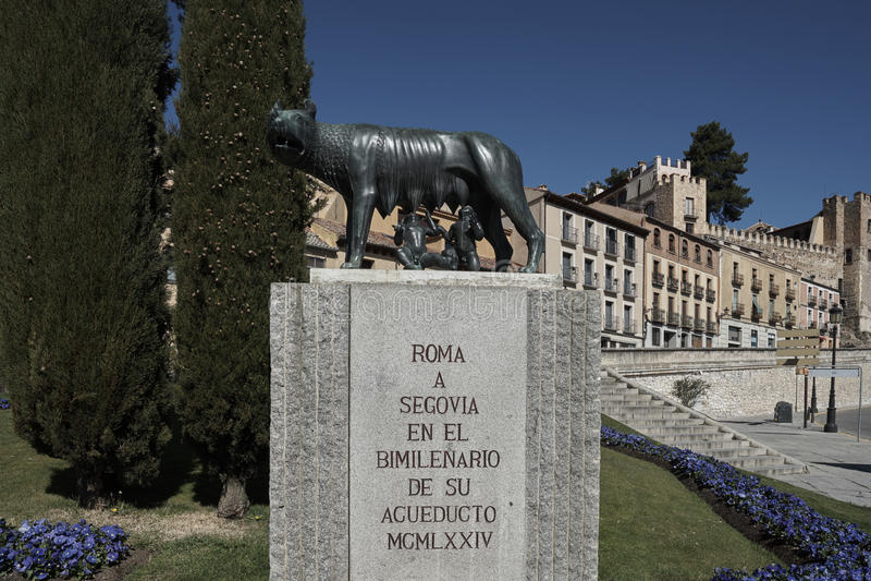 Roman she-wolf Segovia royalty free stock photo
