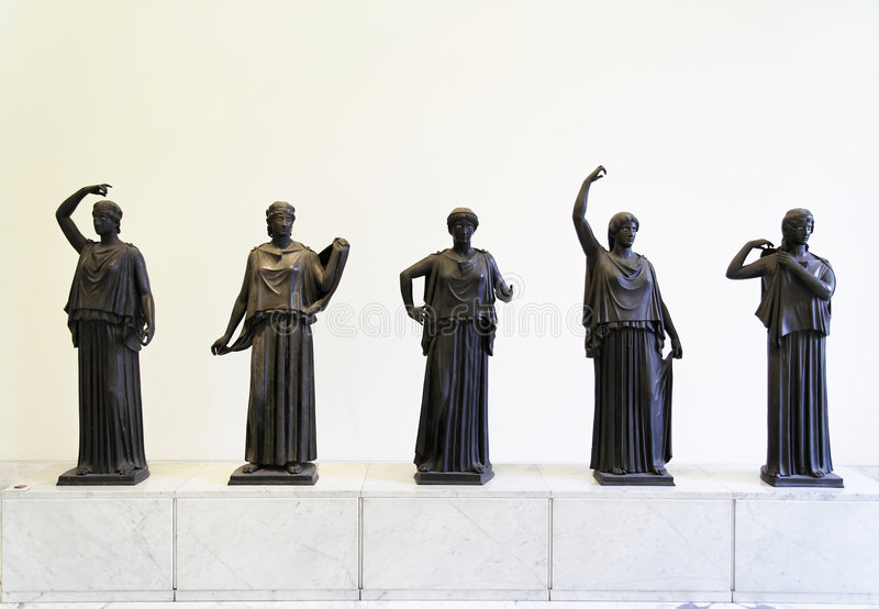 Roman Women. A set of sculptures of Roman women from Pompeii. Naples National Archaeological Museum, Italy stock image