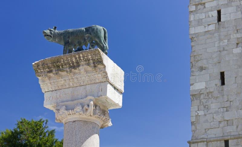 Roman zij-Wolf in Aquileia royalty-vrije stock afbeeldingen