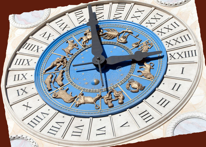 Roman Zodiac Clock stock photography