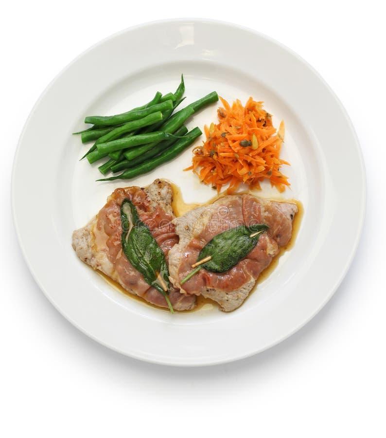 Romana d'alla de Saltimbocca, cuisine italienne photographie stock libre de droits