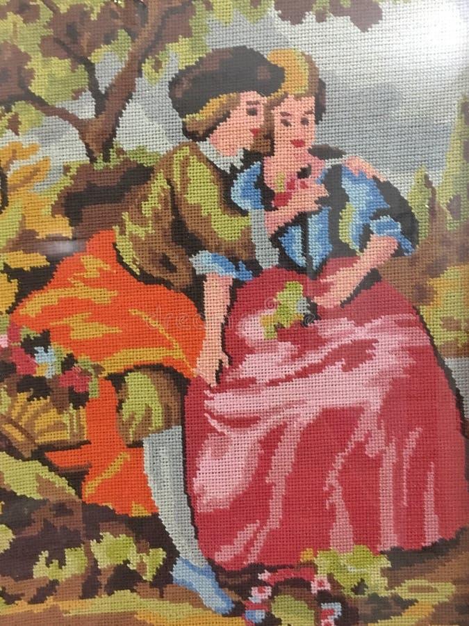 Romance ремесло искусства needlepoint стоковое изображение
