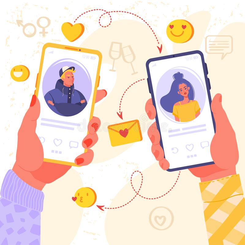 Free Romance App, Virtual Relationship , Communication, Social Media Concept. Stock Image - 160356701