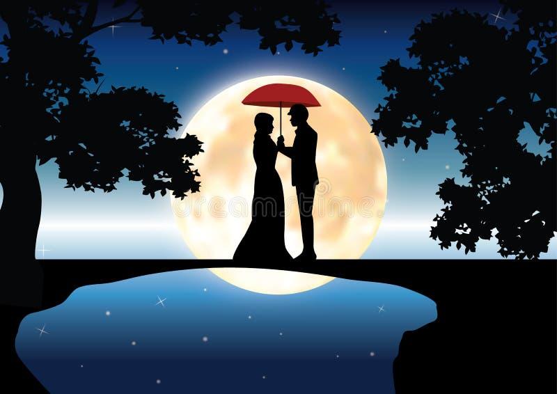 Romance bajo claro de luna, ejemplos del vector stock de ilustración
