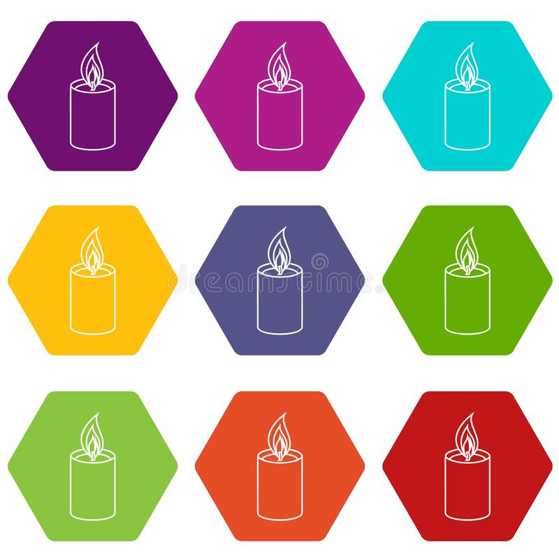 Romance candle icons set 9 vector. Romance candle icons 9 set coloful isolated on white for web royalty free illustration