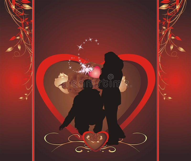 Romance composition. Wrapping for candies. Silhouettes of woman and man. Romance composition. Wrapping for candies. Vector royalty free illustration