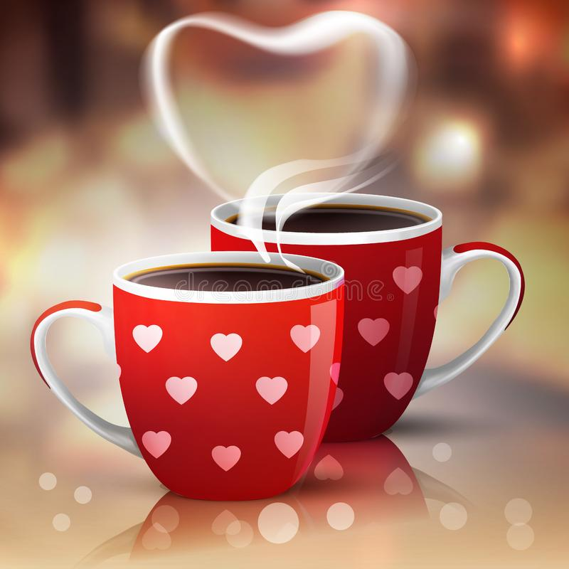 Romance concept of couple. Love and coffee. Heart silhouette from steaming hot coffee cups. Double red cups with hearts pattern for Valentines Day Greetings royalty free illustration