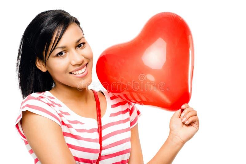 Romance dado fôrma do balão da mulher coração vermelho feliz imagem de stock royalty free