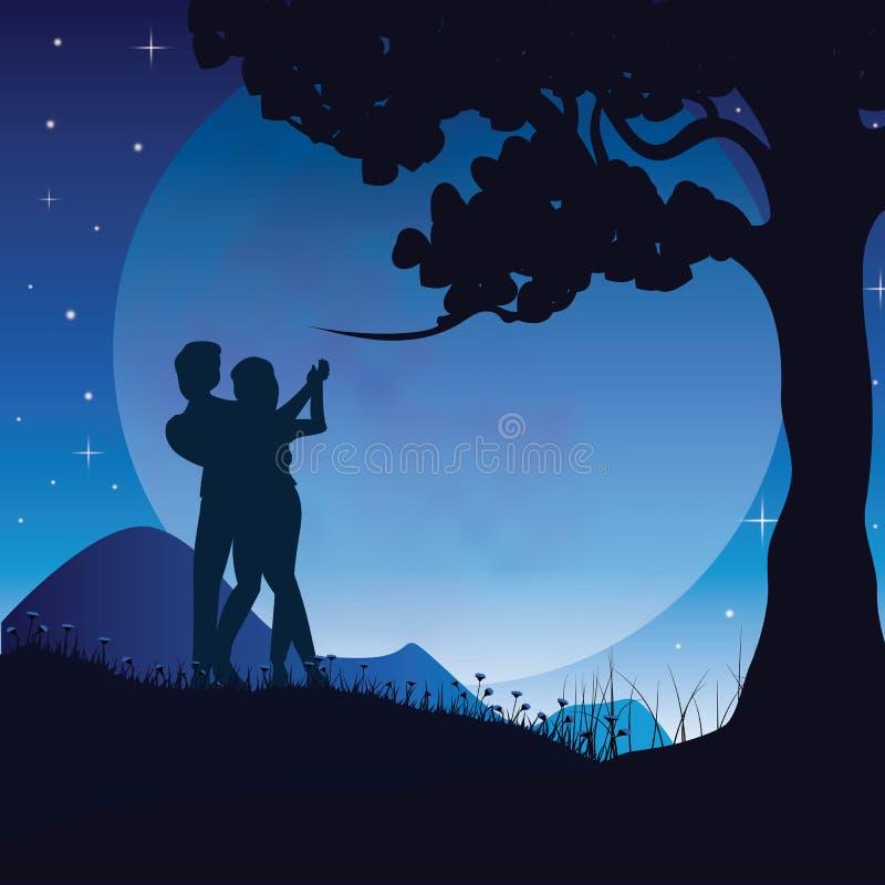Romance debajo de la luna, ejemplos del vector stock de ilustración