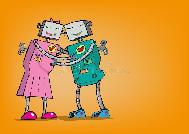 Romance del robot Concepto del amor de Android Abrazo stock de ilustración