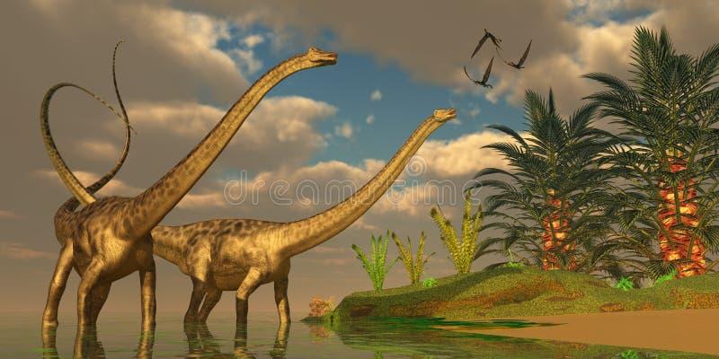 Romance do dinossauro do Diplodocus ilustração do vetor