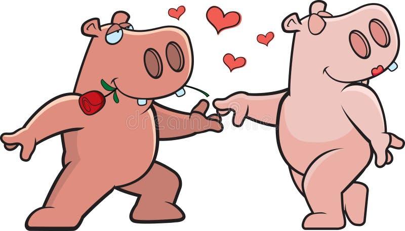 Romance do hipopótamo ilustração royalty free