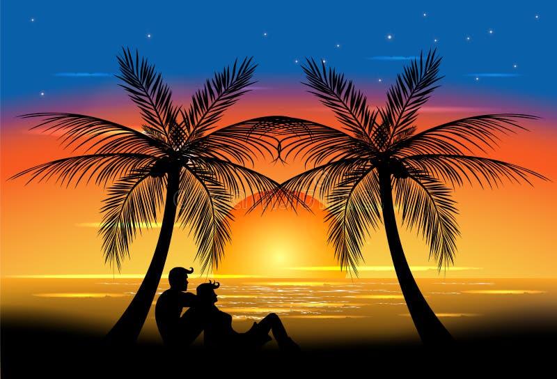 Romance do por do sol ilustração stock