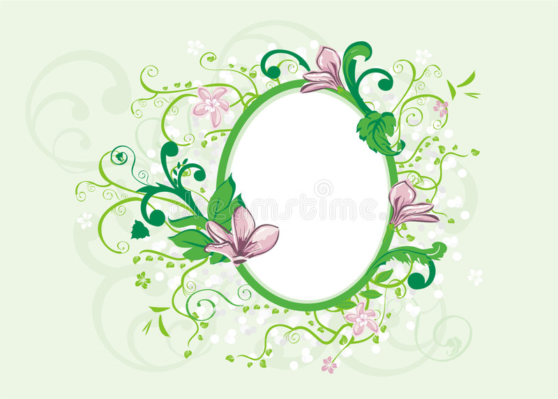 Romance frame. With flourishes and magnolia flower vector illustration