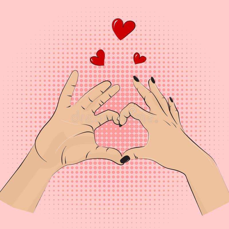 Romance gesture sign. Vector pop art style women men hands showing love. Romantic greeting wedding, dating symbolic. Partnership h. Eart lifestyle concept vector illustration