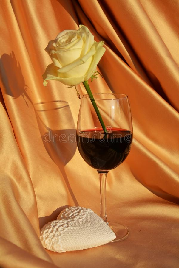 Romance, heart, rose and wine. Love image stock images