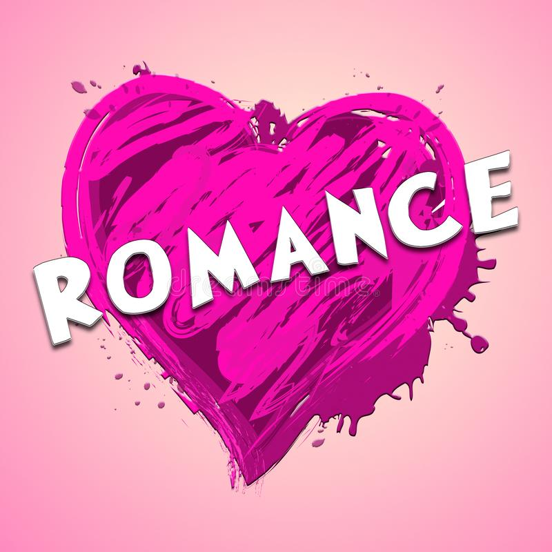 Romance Heart Showing Love Celebration 3d Illustration. Romance Heart Design Showing Love Celebration 3d Illustration royalty free illustration