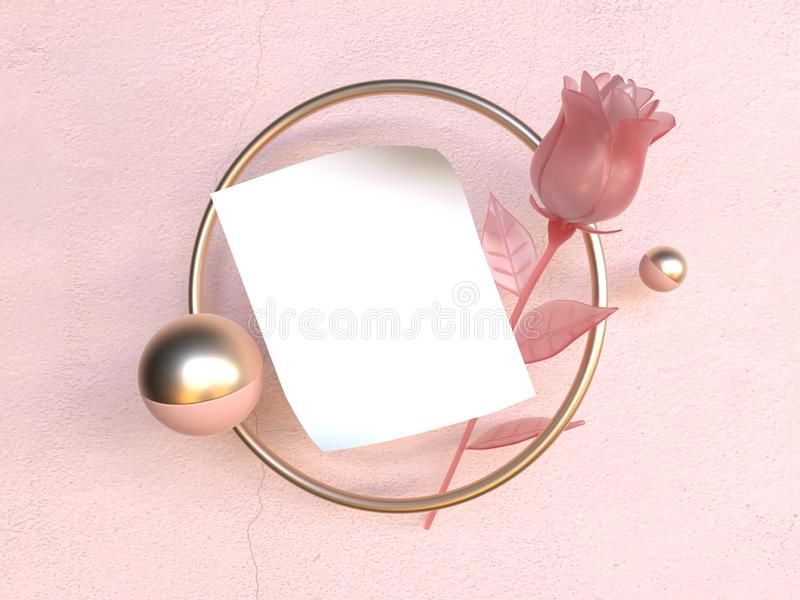 Romance love levitation object blank white paper gold frame pink rose valentine concept 3d rendering royalty free illustration