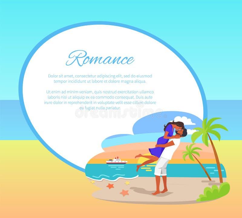 Romance Netz-Plakat mit Paar-Umfassungs-Küste vektor abbildung