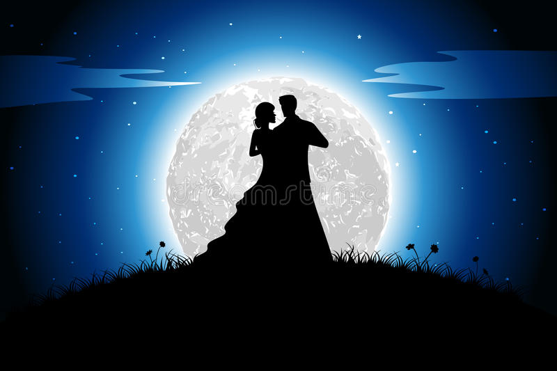 Romance in Night. Illustration of couple in romantic mood in night view with moon backdrop vector illustration